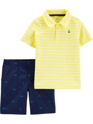 Carter's Set 2 Piese tricou polo galben & pantaloni scurți Ancora