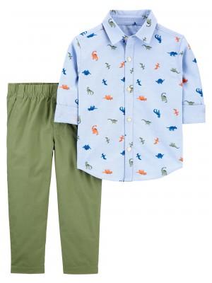 Carter's Set 2 piese pantaloni si camasa Dinozauri