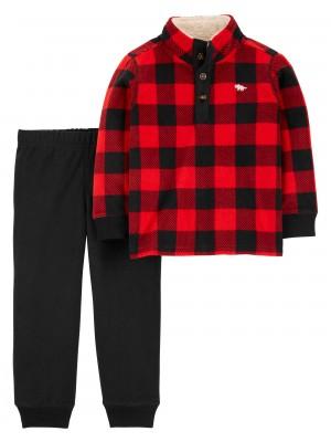 Carter's Set 2 piese pantaloni si bluza cadrilata