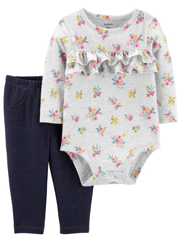 Carter's Set 2 piese Floral body si pantaloni
