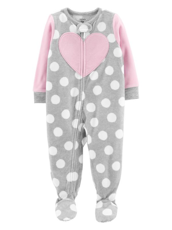 Carter's Pijama gri cu inimioara si buline