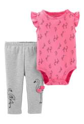 Carter's Set 2 Piese Famingo body & pantaloni lungi 100% bumbac