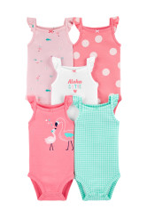 Carter's Set 5 Piese body Flamingo