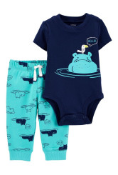 Carter's Set 2 piese pantaloni si body Hipopotam