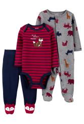Carter's Set 3 Piese bebelus pijama body si pantaloni Veverite