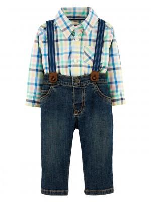 Carter's Set 3 Piese pantaloni, body tip camasa in carouri si bretele