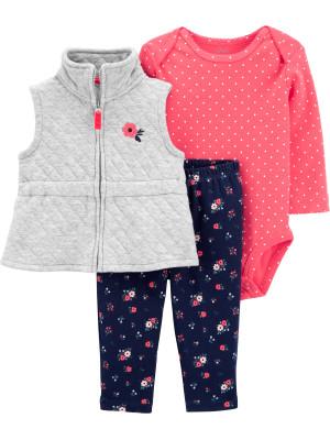 Carter's Set 3 piese bebelus vesta pantaloni si body Flori