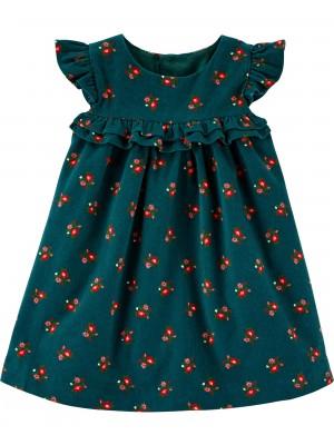 Carter's Rochie de catifea cu volanase si flori