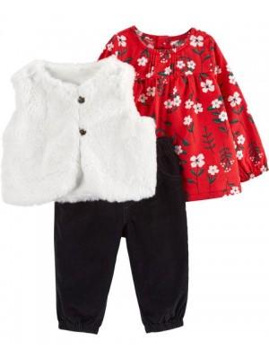 Carter's Set 3 piese bebelus vesta pantaloni si bluza Flori