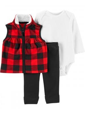 Carter's Set 3 piese bebelus pantaloni body si vesta
