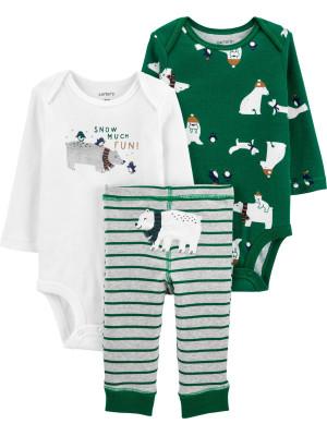 Carter's Set 3 Piese bebelus 2 body si pantaloni Urs polar