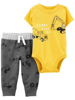 Carter's Set 2 piese bebelus pantaloni si body Constructii