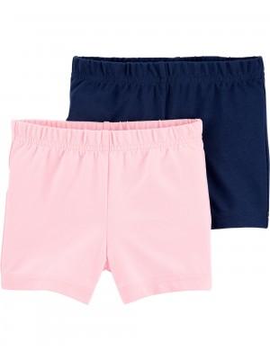 Carters Set 2 piese pantaloni scurti roz si bleumarin
