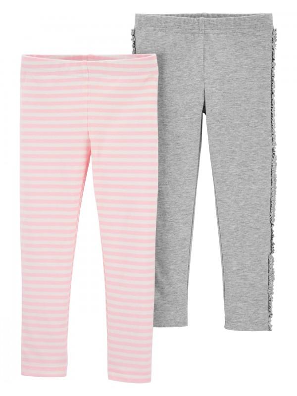 Carter's Set 2 pantaloni gri/roz